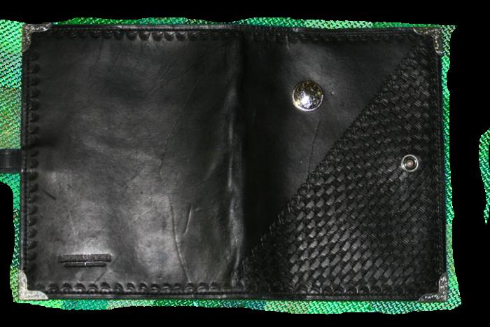Black Basket Weave Leather Planner Book Cover 2