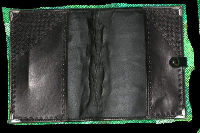 Black Basket Weave Leather Planner Book Cover 3